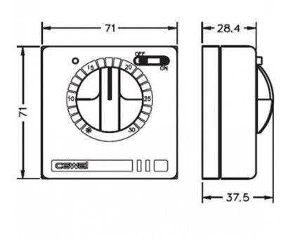 Купить Терморегулятор со встроенным датчиком воздуха Cewal RQ30, механический, накладной в Краснодаре